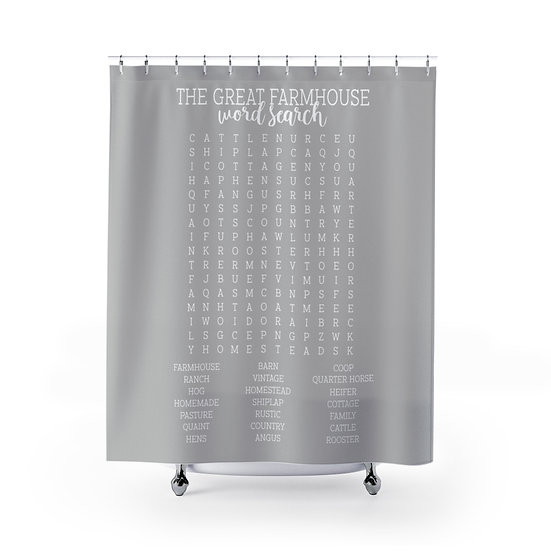 Forget Your Phone Farmhouse Edition Shower Curtains, Gray Word Search Fabric
