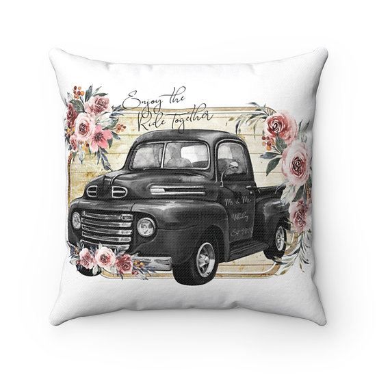 Personalized Wedding Pillow, Enjoy the Ride Together Wedding Pillow, Ring Pillow