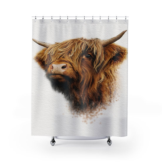Highland Cow Shower Curtain, Rustic Ranch Bathroom Decor