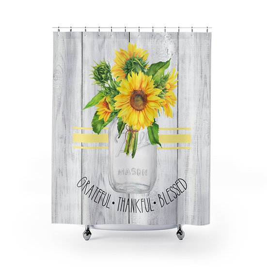 Shower Curtain, Sunflowers Mason Jar, Modern Farmhouse Designer Curtain