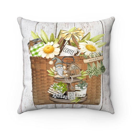 Farmhouse Pillow, Gnome Basket Pillow with Cover