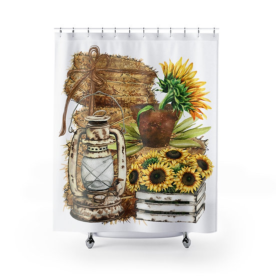 Farmhouse Shower Curtains, Country Sunflower Fabric Liner