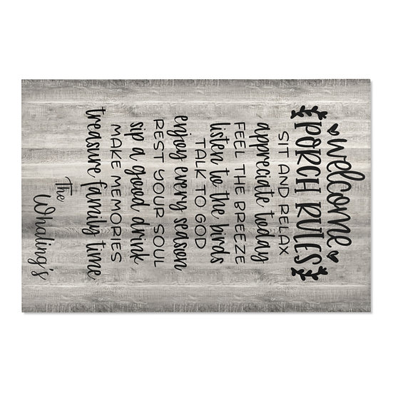 Area Rug, Welcome Porch Rules Rug, Gray Barnwood Print Farmhouse Rug, Country