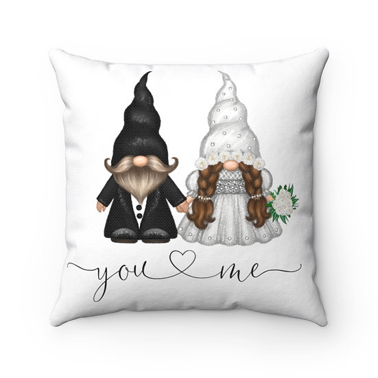 You & Me Wedding Gnome Pillow, Marriage Pillow, Ring Pillow
