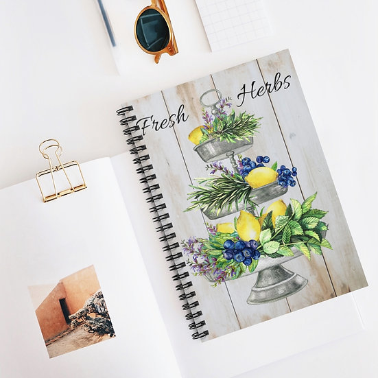 Spiral Notebook, Lemon Herb Tray Spiral Notebook, Farmhouse Designer Notebook