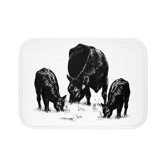 Bath Mat, Cow Bath Mat, Black and White Non Slip Bathroom Rug