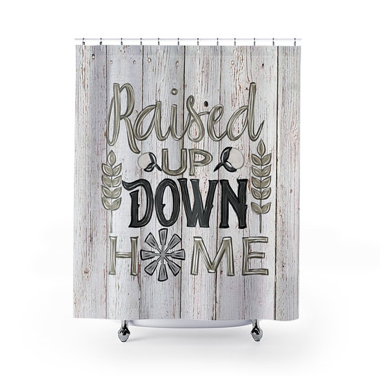 Shower Curtain, Barnwood Raised Up Down Home Fabric Liner