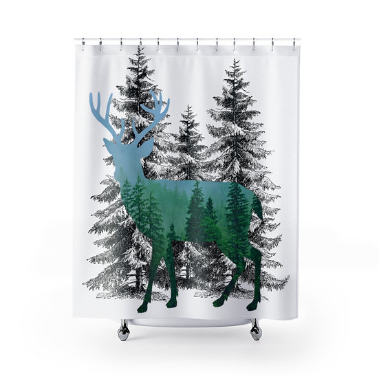 Forest Deer Shower Curtain, Wildlife Fabric Liner, Lodge Cabin Bathroom Decor