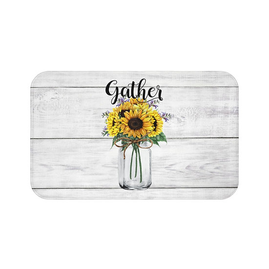 Bath Mat, Farmhouse Gather Sunflower Bath Mat, Floral Bath Room Accessories