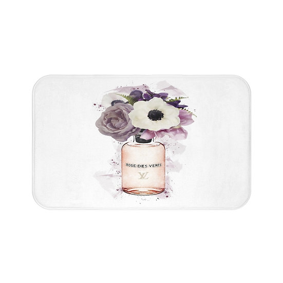 Bath Mat, Floral Fashion Illustration, Perfume Flowers Girls bathroom decor