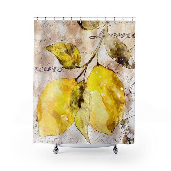 Lemon Designer Curtain, Shower Liner, Bathroom Shower, Bathroom Decor