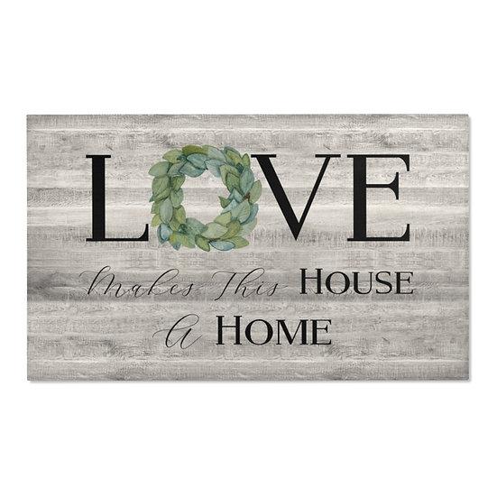Area Rug, Love Makes a Home Rug, Gray Barnwood Print Farmhouse Rug, Country