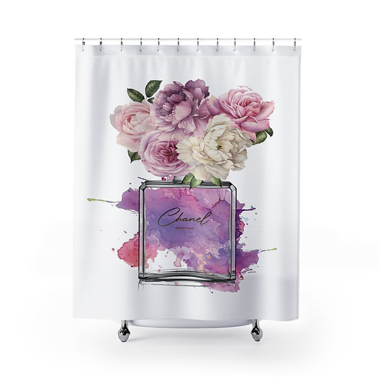 Shower Curtain, Fashion illustration, Pink, Perfume, Orchid, Peony,