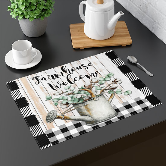 Farmhouse Placemat, Welcome, Black and White Plaid