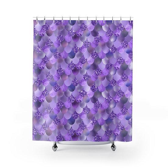 Purple Mermaid Shower Curtain, Purple Fashionista Illustration