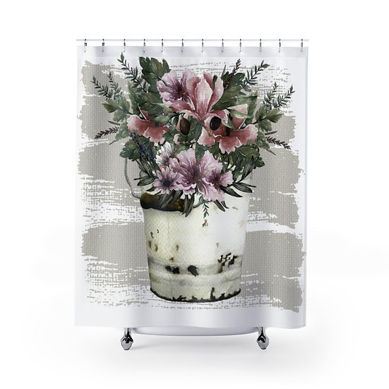 Farmhouse Shower Curtain, Floral Rustic Bucket Fabric Liner