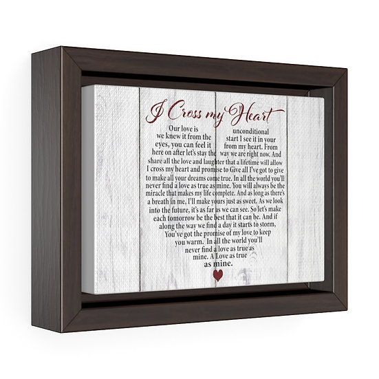 Personalized Canvas Print, I Cross My Heart Framed Wrap Canvas, Wedding Gift