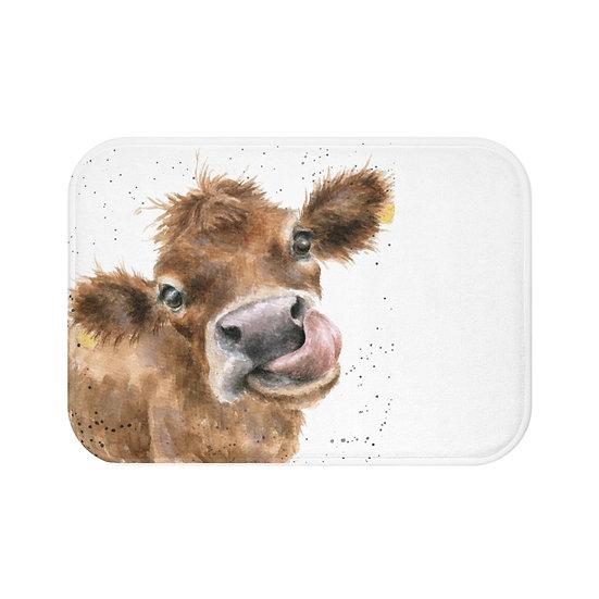 Bath Mat, Watercolor Cow Bath Mat, Non Slip Bathroom Rug