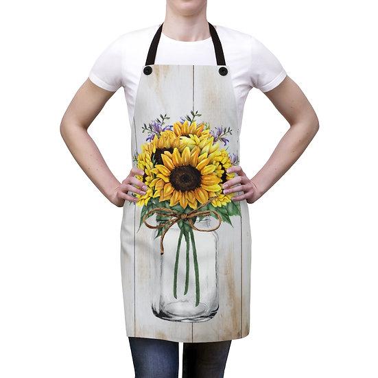 Apron, Mason Jar Sunflower Apron, bakers apron, kitchen apron