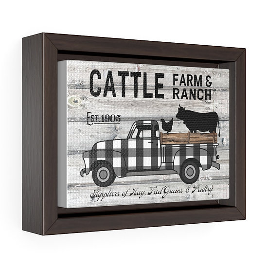 Canvas Print, Farmhouse Cattle Farm Ranch Truck, Farmhouse Wall Art, Wall Hang