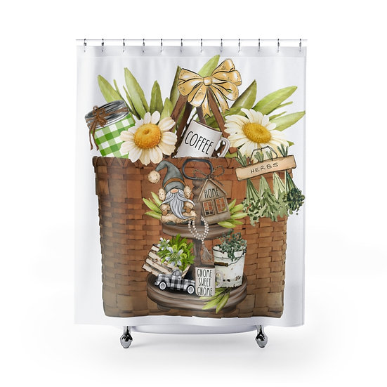 Gnome sweet Gnome Shower Curtains, Country Basket Fabric Liner