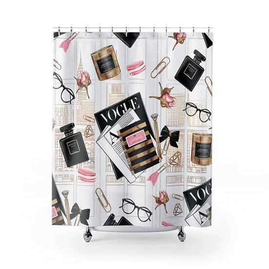 Shower Curtain, Fashion illustration, Fashionista Shower Curtain