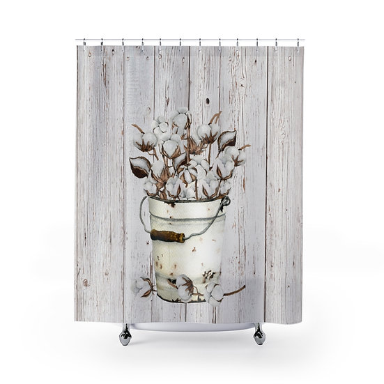 Shower Curtain, Personalized Shower Curtains, Bucket Of Cotton Fabric Liner