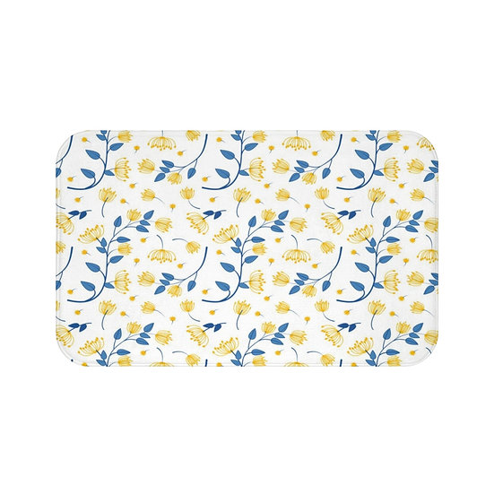 Yellow and Blue Floral Bath Mat