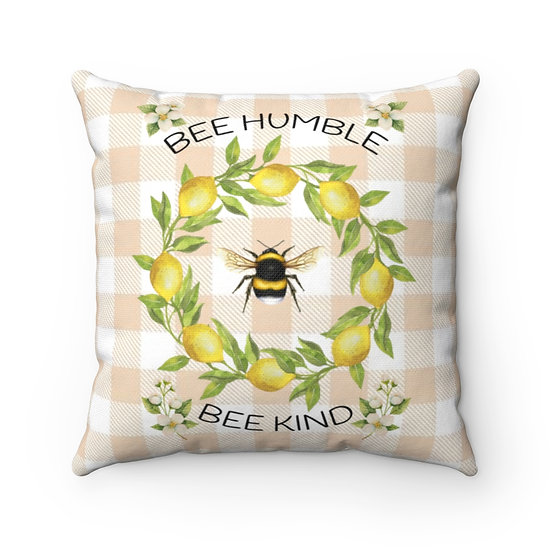 Pillow, Bees and Lemon Wreath Farmhouse Throw Pillow, Housewarmings Pillow gifts