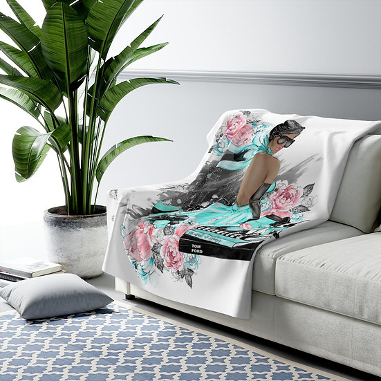 Fashion Sherpa Fleece Blanket, African American Fashion, Fashionista Blanket