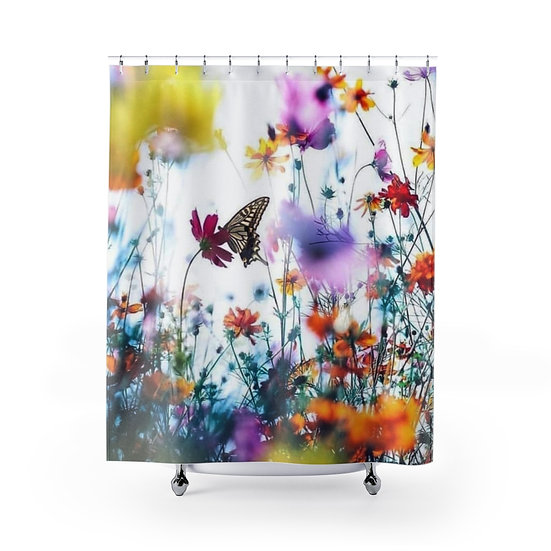 Butterfly Amongst the Wildflowers Shower Curtains, Flower Fabric Liner