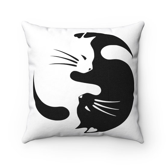 Cat Lover Pillow, Ying Yang Cat Throw Pillow, Cat Lover Gift