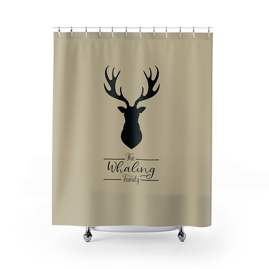 Personalized Shower Curtain, Custom Deer Shower Curtain