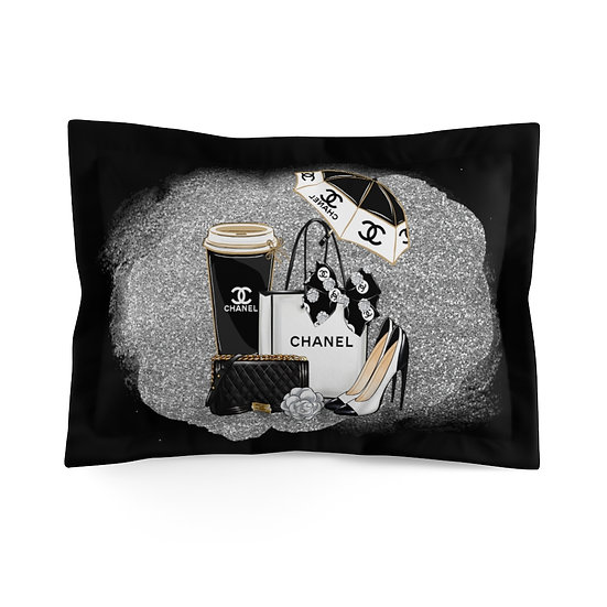 Pillow Sham, Fashion Pillow Cover, Black and Silver, Fashionista, Shoes