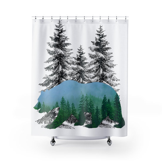 Forest Bear Shower Curtain, Wildlife Fabric Liner, Lodge Cabin Bathroom Decor