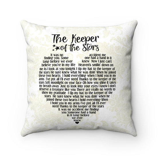 Song Lyric Print, Personalized  Pillow, Keeper of the Stars Song Lyric Pillow