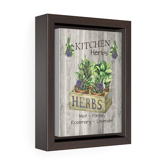 Canvas Print, Crate Herbs Wall Hanging, Kitchen Wall Art, Vertical Framed