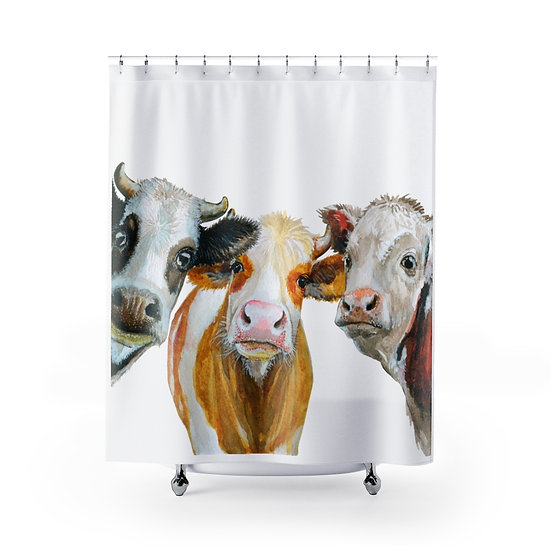 Watercolor Farmhouse Cow Shower Curtains, Cow Fabric Liner, Funny Bathroom Decor