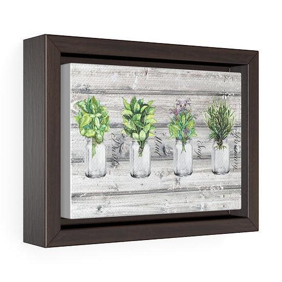 Canvas Print, Farmhouse Mason Jar Herbs, Kitchen Wall Art