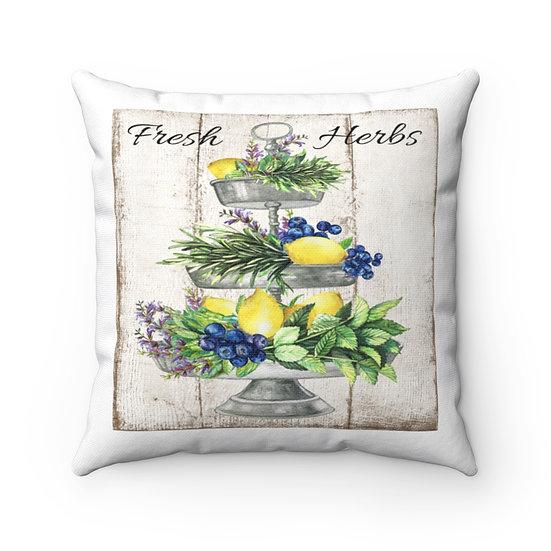 Farmhouse Tray Pillow, Lemon Blueberries Herbs Country Pillow