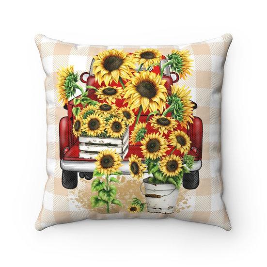 Pillow, Sunflower Red Truck Farmhouse Throw Pillow, Housewarmings Pillow gifts