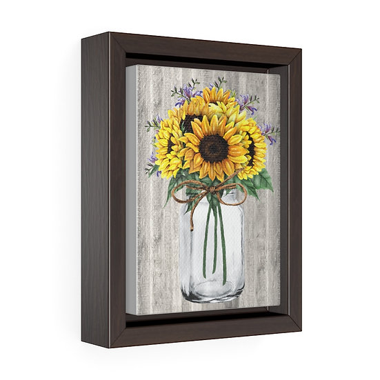 Canvas Print, Farmhouse Sunflower Mason Jar, Wall Hanging, Vertical Framed Wrap