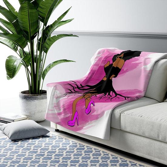 Fashion Sherpa Fleece Blanket, Roots African American Fashionista Blanket