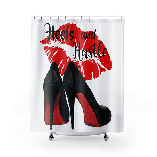 Shower Curtain, Fashion, High Heel Shoes, Red Bottom Heels Fashion illustration