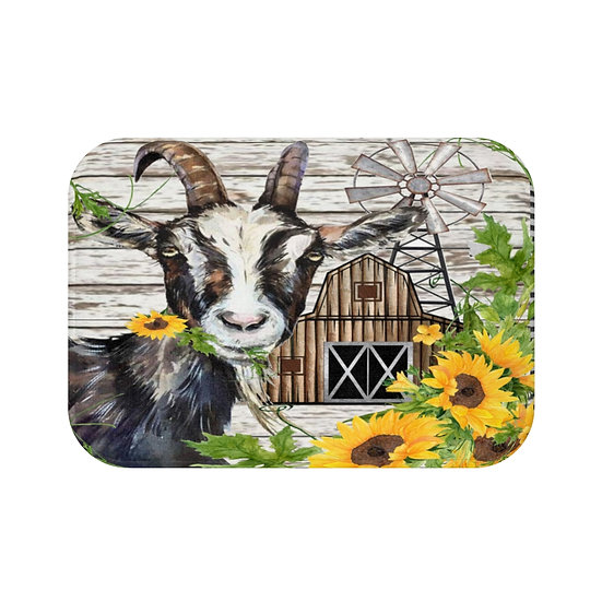 Bath Mat, Watercolor GoatBarn Bath Mat, Cute Goat Non Slip Bathroom Rug