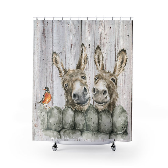 Shower Curtain, Watercolor Mules, Shower Curtains, Donkeys Fabric Liner
