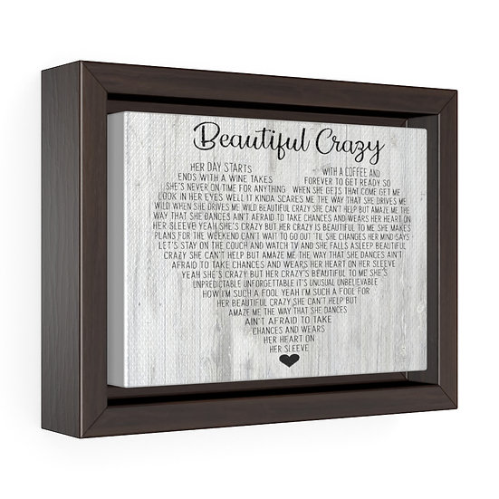 Canvas Print, Beautiful Crazy,  Personalized Wedding Song Lyrics Canvas