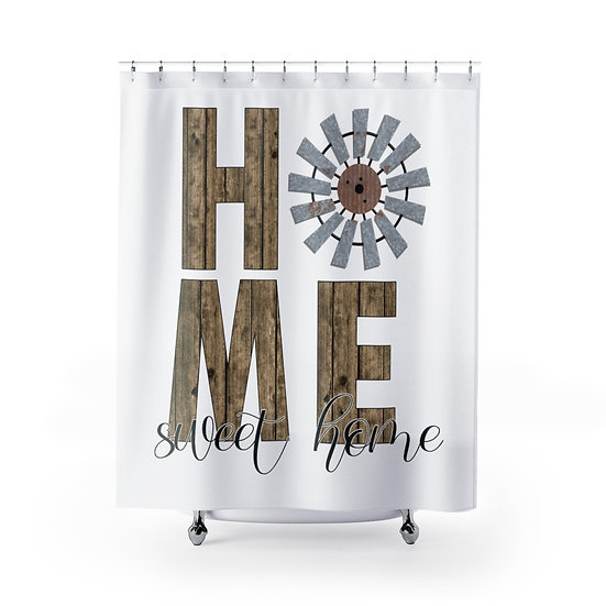 White Farmhouse Windmill Shower Curtain, Home Sweet Home Fabric Liner