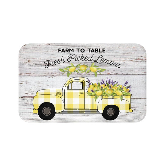 Bath Mat, Kitchen Mat, Farmhouse Lemon Truck Mat, Shabby Chic Citrus Bath