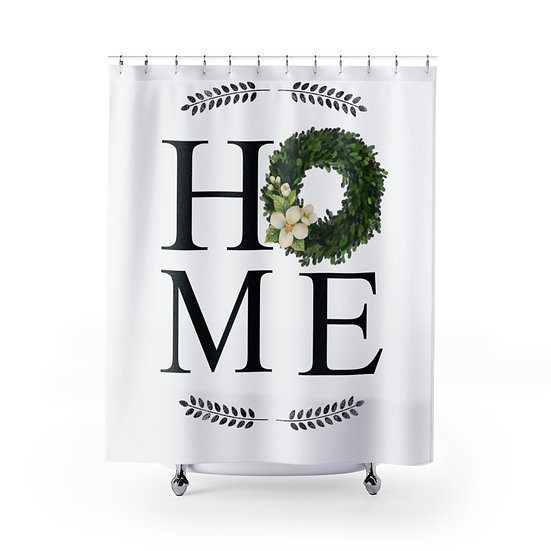White Farmhouse Wreath Shower Curtain,  Home Fabric Liner